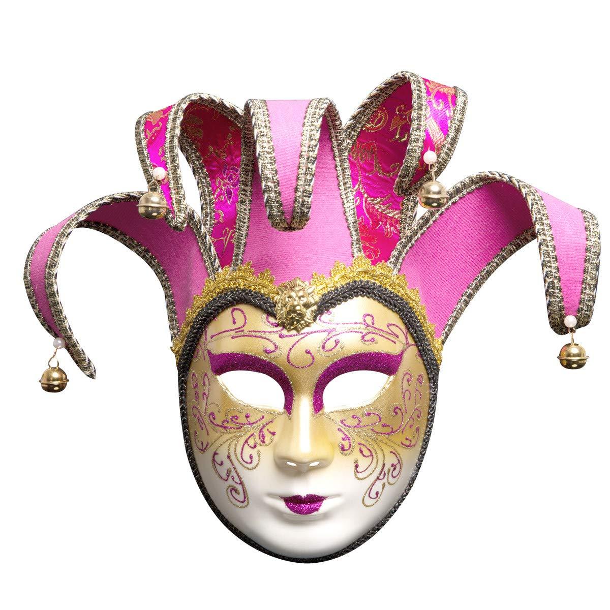 Sonmer Full Face Venetian Joker Masquerade Theater Mask, Mardi Gras Party Ball Mask (Rose Red)