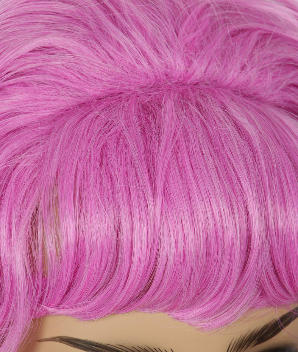 Codeven 50S Short Pink Wigs Halloween Costume Cosplay Curly Party Wig for Men