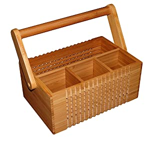 """Totally Bamboo Wooden Natural Lattice Flatware Caddy with Handle, 100% Bamboo Silverware Condiment & Utensil Holder, 9.6"""" x 7.6"""" x 3.9"""""""