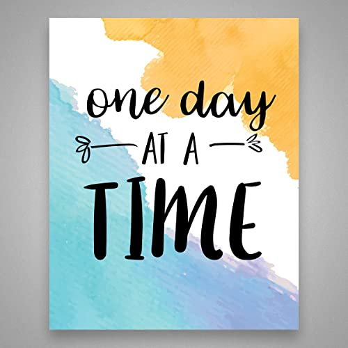 Amazoncom One Day At A Time Watercolor Art Print Inspirational