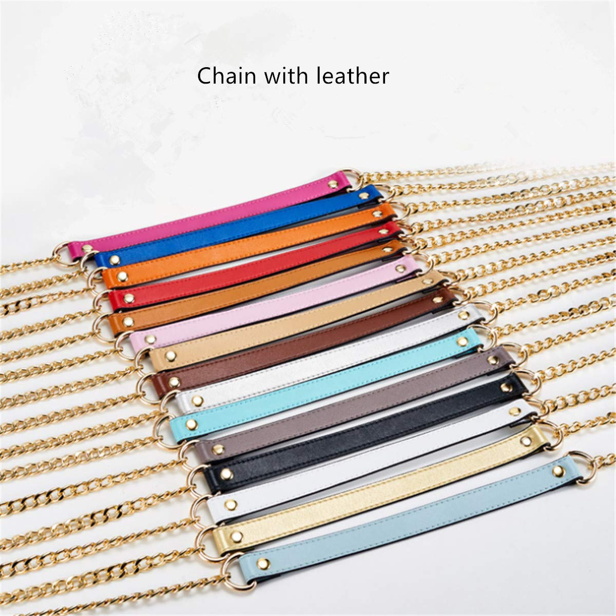 ESUPPORT Purse Straps Replacement Leather Metal Chain Unadjustable for Crossbody Handbags Shoulder Bag Wallet DIY 43.31 Inch Long Black