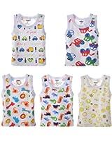 DANROL Baby Boys 5 Pack Carton Print Sleeveless Tank Tops 100 % Cotton