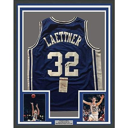 01630942a940 Framed Autographed Signed Christian Laettner 33x42 Duke Blue Devils Blue  College Basketball Jersey JSA COA