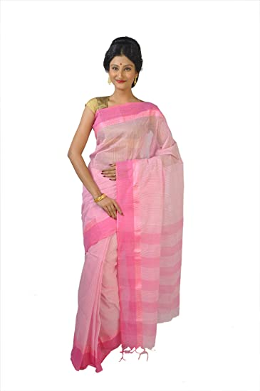 ea8c0a193b Rudrakshhh Women Tant Pure Cotton Saree Color: Light Pink For Party And  Casual Use: Amazon.in: Clothing & Accessories