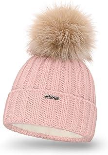 PaMaMi Damen Thermo Wintermütze | warme Strickmütze mit Bommel | Gestrickte weiche Bommelmütze | Slouch Beanie Hergestellt in EU | Farbenauswahl 18574