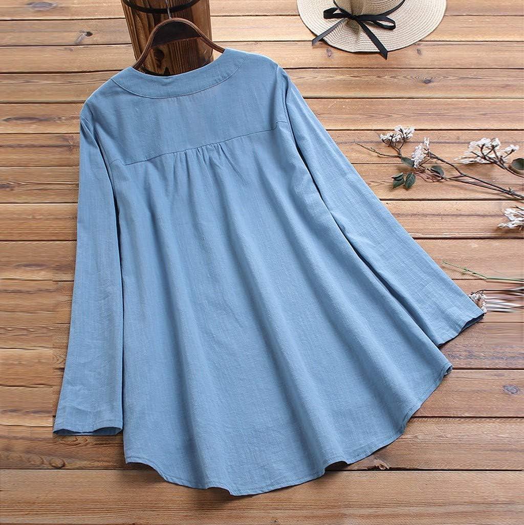 Lataw Womens Tops T-Shirt Casual Loose Soft Irregular Hem Linen Button Plus Size Tunics Pullover Blouse Costume Basic Clothes
