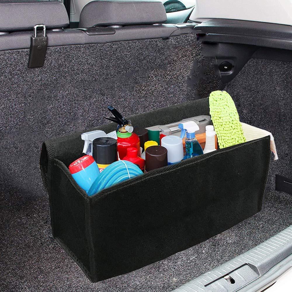 Big Ant Felt Car Trunk Organizer Durable Collapsible Cargo Storage with Non Slip Bottom Car Gadget First Aid Storage Organizer Best for SUV Truck Vehicle Jeep L 19.6 x W 10 x H 5.9 Black