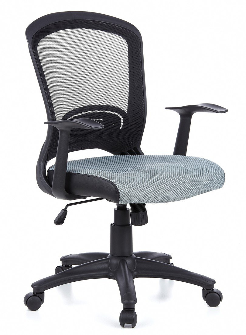 hjh OFFICE, 668022, Home office chair, swivel chair, FLYER 10, grey, mesh fabric, ergonomic and stylish backrest with lumbar support, thick padded seat, reclining mechanism, elegant swivel computer desk chair with armrests, synthetic designer base synthet