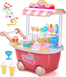 Geyiie Small Ice Cream Toy Cart Play Set for Kids Pretend Play Food Educational Ice-Cream Trolley Truck Great Gift for Girls and Boys Ages 3 to 8 Years Old