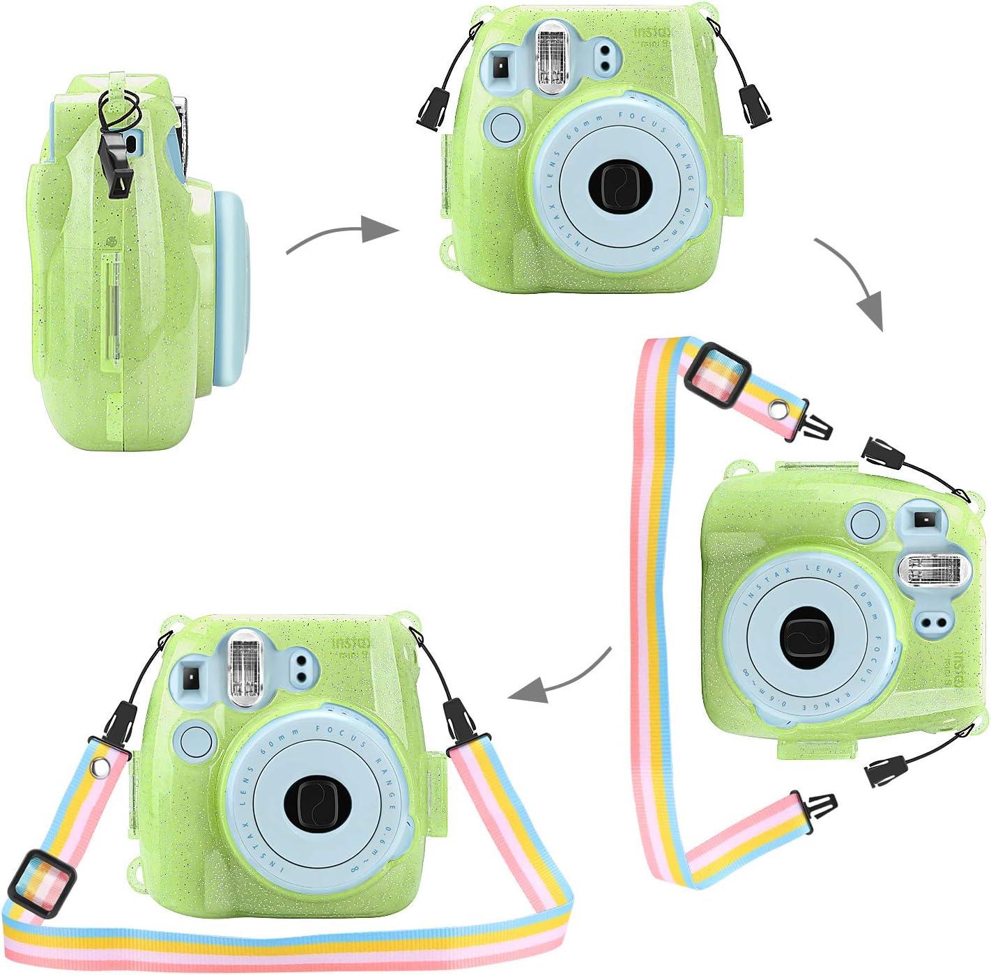 Turquoise FINTIE Protective Case for Fujifilm Instax Mini 9//Mini 8//Mini 8 Premium Vegan Leather Bag Cover with Removable Strap for Fujifilm Instax Mini 8 8+//Mini 9 Instant Camera