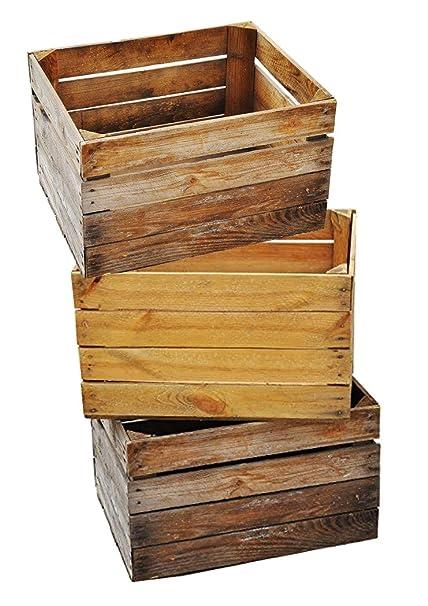Massive fruta (– 3 Set Vintage Madera Caja – Antigua caja – cajón-estantería