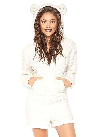 2c3e23549b85 Amazon.com  Leg Avenue Women s Fuzzy Zip-up Polar Bear Romper with Pockets  and Ear Hood  Clothing