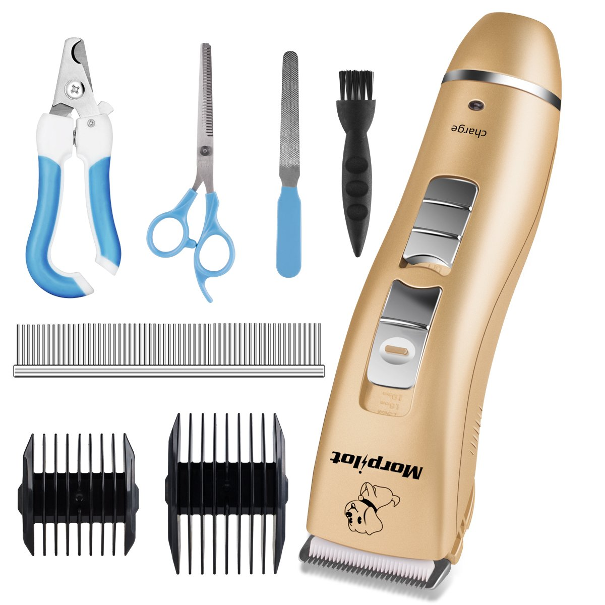 Morpilot Dog Clippers Cordless Low Noise Pet Hair Clippers Grooming Kit Trimmer Rechargeable Professional Nail Clipper Kit for Small Dogs Cats Long Short Hair