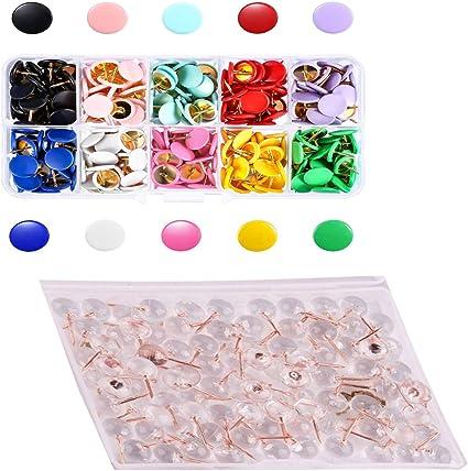 in plastica trasparente Spilli a spinta confezione da 100 puntine rotonde color oro rosa bacheche in sughero per scuola