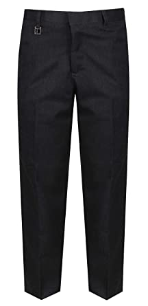 9cf6742eb1c Boys Sturdy Fit School Trousers Plus Fit Elasticated Waist (Ages 7-16) XS -  3XL Generous Fit Wider Waist Shorter Leg - Black Grey  Amazon.co.uk   Clothing