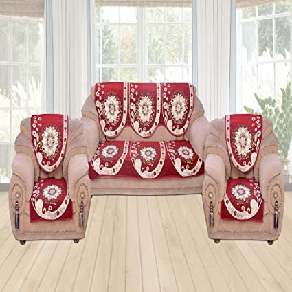 Furnishing Zone 6 Piece Velvet Sofa Seat Cover In Red Colour