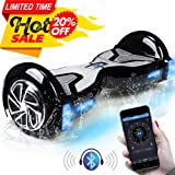 """TOMOLOO Self-Balancing Scooter UL2272 Certified 6.5"""" Wheel Hoverboard with RGB Lights Bluetooth Speaker Customizable App Black"""