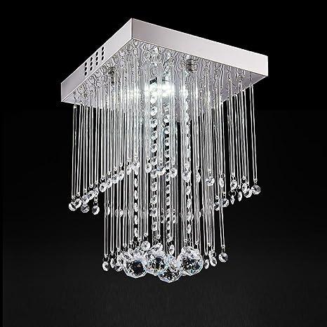 Lámpara de techo de doble capa cuadrada de cristal con K9 ...