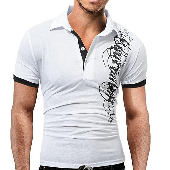 Hombre Blusa de Manga Corta,Blusa de Hombre para Imprimir Deporte Camiseta Casual Absolute