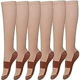 6 Pack Copper Knee High Compression Support Socks For Women and Men - Best Medical, Nursing, Maternity Pregnancy and Travel Socks - 15-20mmHg