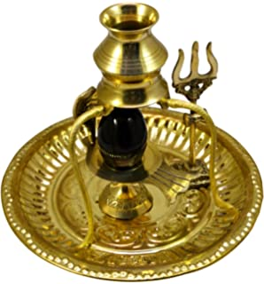 Amazing India Shivling Statue Brass Stand with Thali (Gold)