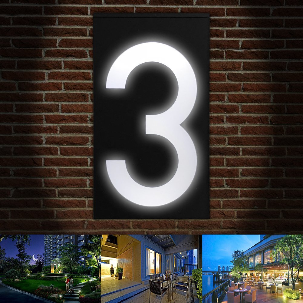Solar Digital Doorplate Lamp Manual and Light Control Solar Wall Light LED House Number Apartment Villa Garden Light by Gorge-buy (Image #3)