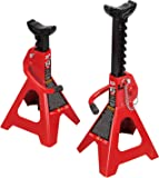 BIG RED T42002A Torin Steel Jack Stands: Double Locking, 2 Ton (4,000 lb) Capacity, Red, 1 Pair