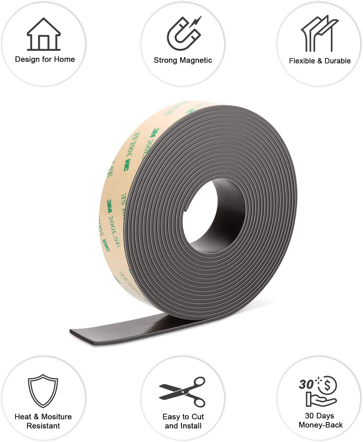 Sticky Magnetic Roll Perfect for Fridge. Magcifly Magnetic Adhesive Tape 1 Inch X 15 Feet Magnetic Strip with Strong Adhesive for Craft /& DIY Projects