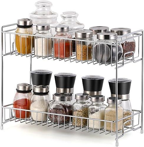 NEX 2 Tier Spice Rack Kitchen Bathroom Standing Storage Organizer Spice Shelf Holder Rack – Chrome