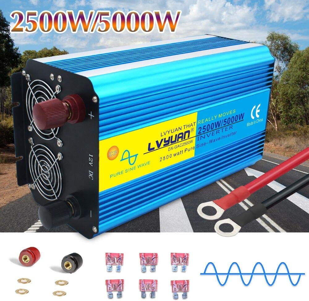 Yinleader 2500w Pure Sine Wave Power Inverter DC 12V to 110V AC Converter with Dual LED Display 4 AC Outlets 1 USB Port for Car RV Caravan Truck Travel Camping, Laptop-Blue (2500w)