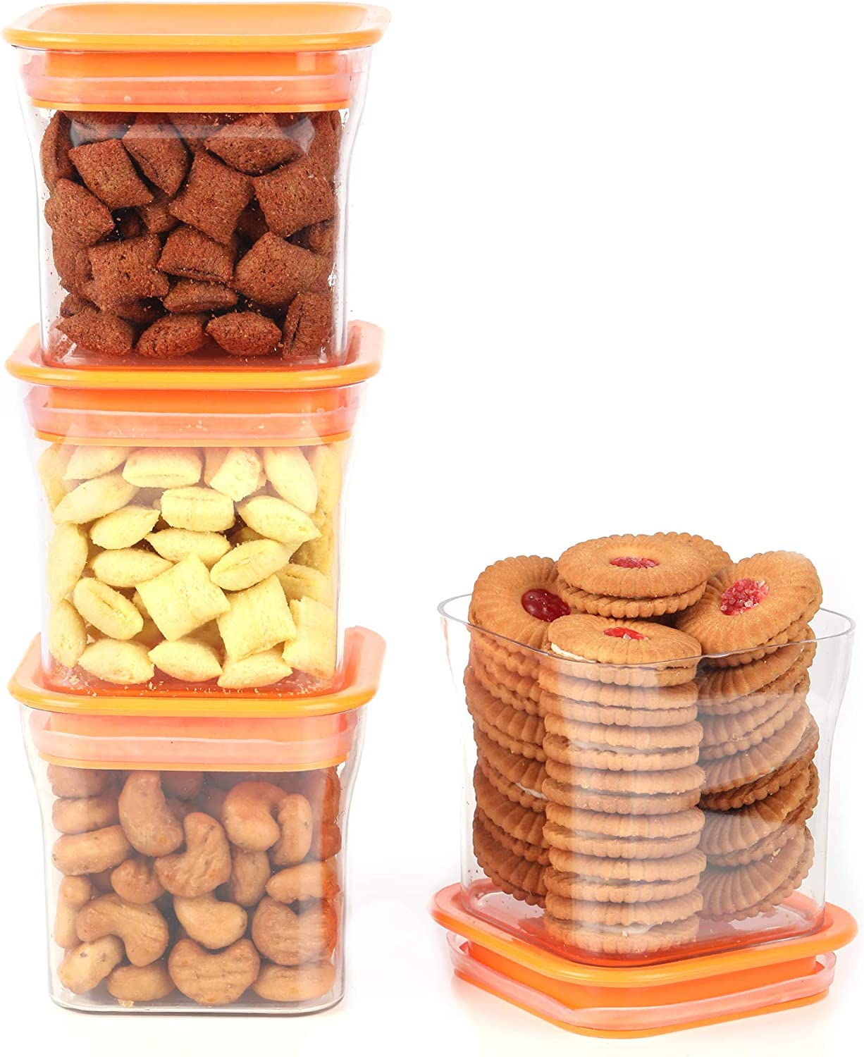 EQUALITY OVERSEAS Kitkat Air Tight Jar Food Storage Container Set for Rice, Dal, Atta, Flour, Cereals, Pulses, Snacks, Stackable Spice (4 PCS 600ML)