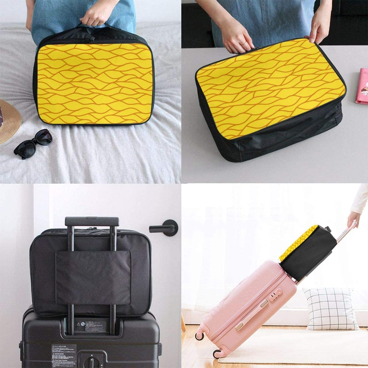 Yunshm Irregular Geometric Stripes Yellow Customized Trolley Handbag Waterproof Unisex Large Capacity For Business Travel Storage