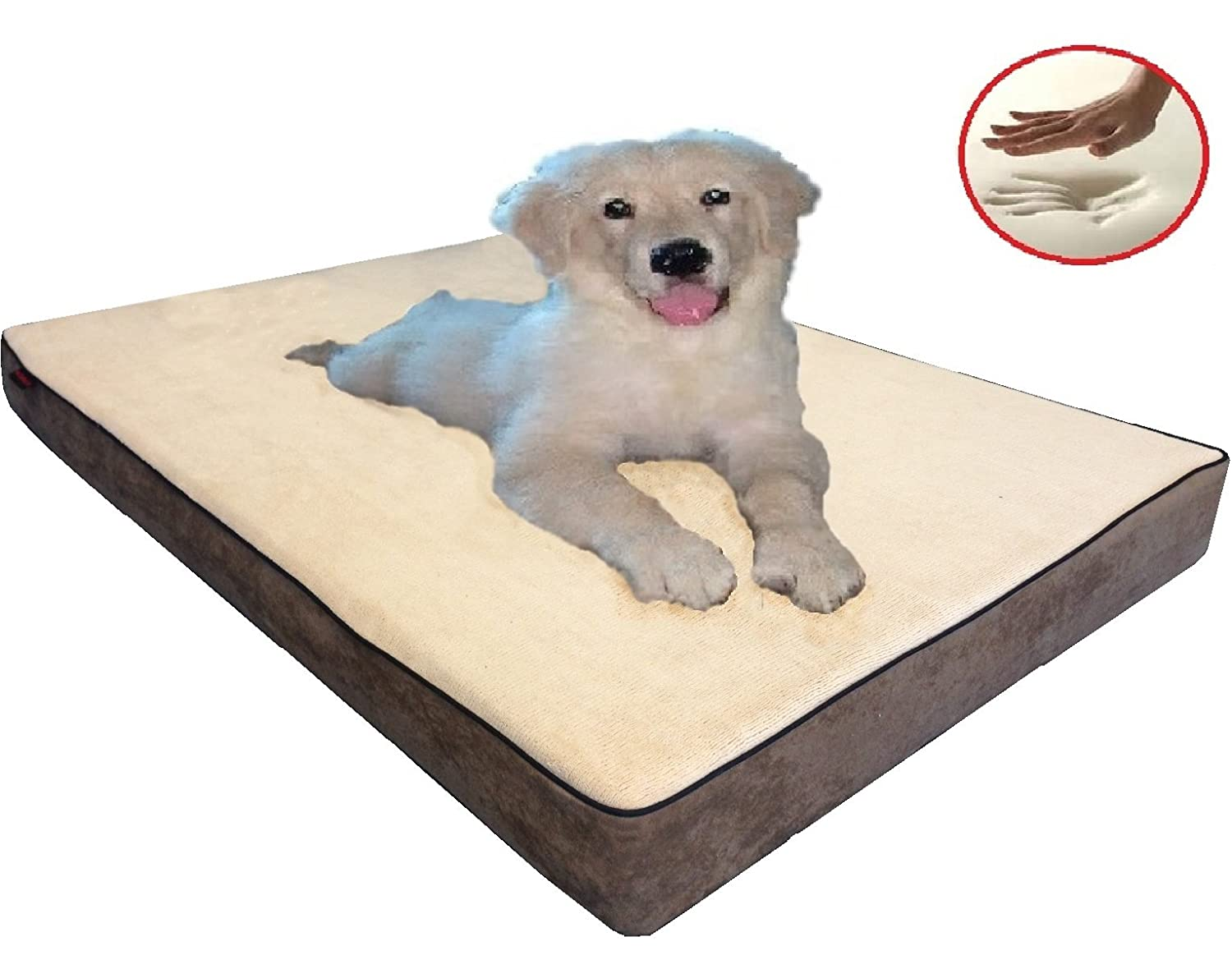 ehomegoods 41 X27 X4 Beige color Gusset Style Orthopedic Waterproof Memory Foam Pet Pad Bed for Medium Large dog crate size 42 X28 with 2 external covers