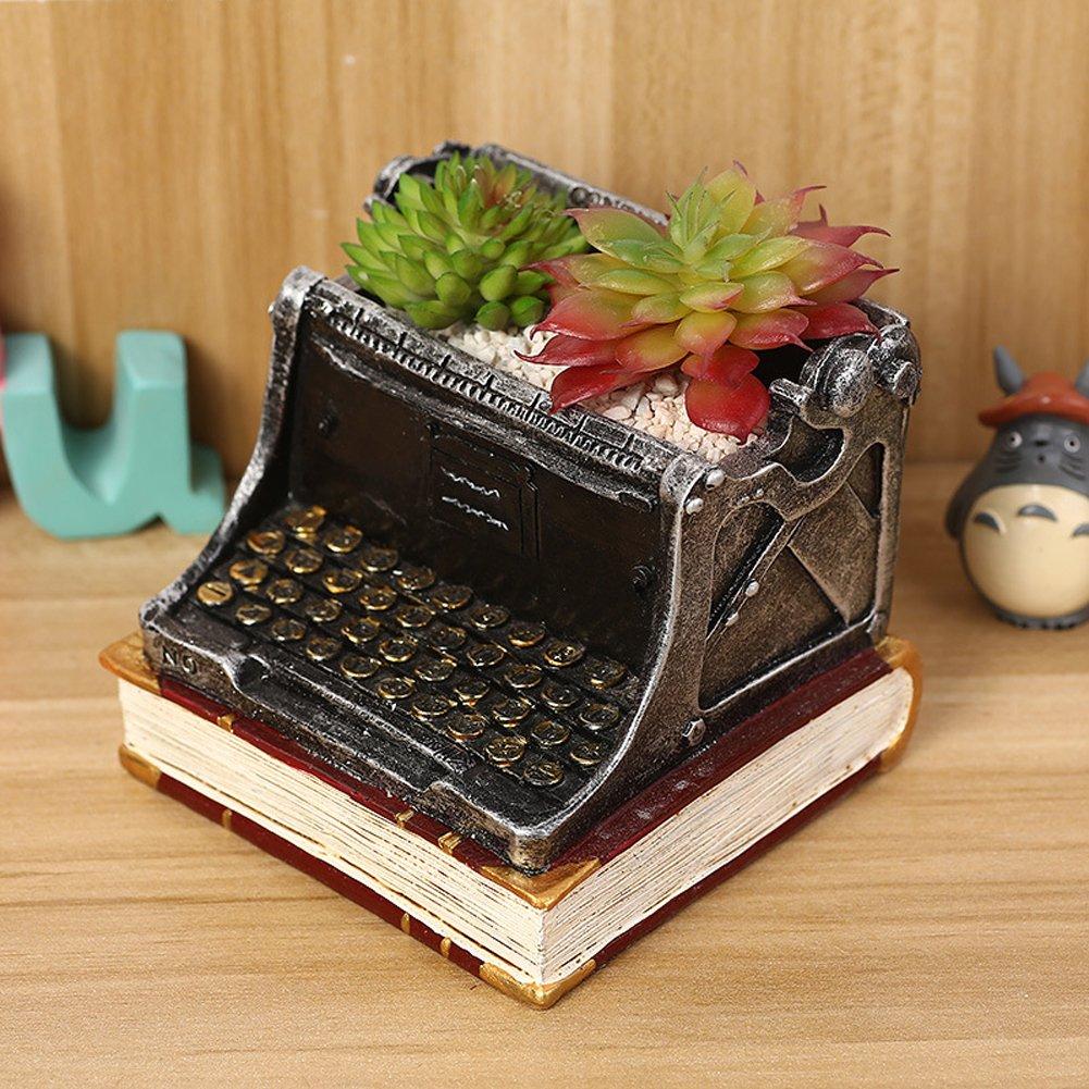 yournelo Retro máquina de escribir pequeñas flores macetas suculentas macetas jarrón: Amazon.es: Jardín