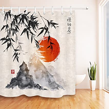 Ancient Japanese Chinese Ink Painting Bamboo Mountain Sunset Shower Curtain For Bathroom By LB Oriental