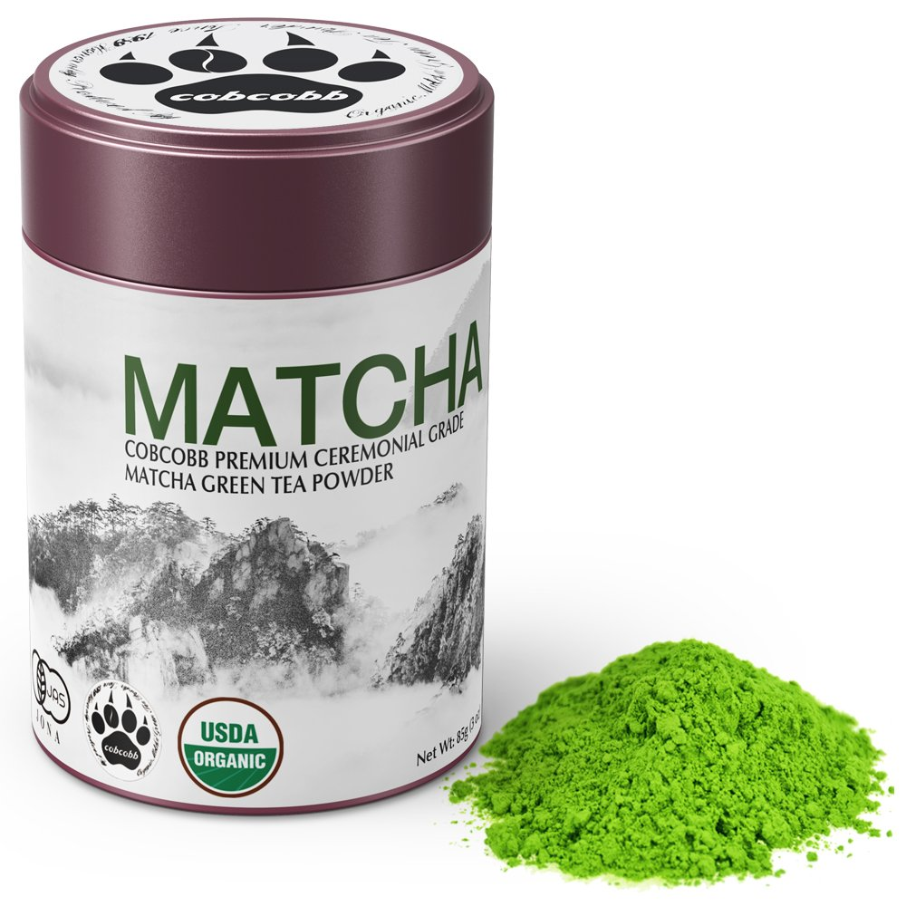 cobcobb 35g Uji Matcha Green Tea Powder, USDA Organic - Authentic Japanese Ceremonial Grade (Premium, Tin)