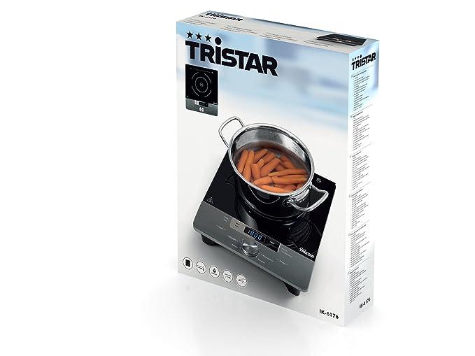 Tristar IK-6176 Placa de inducción, 1800 W, Vidrio, Negro, Gris