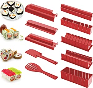 Sushi Making Kit, Beginners 10 Pieces Plastic Sushi Maker Tool Complete with 8 Sushi Rice Roll Mould Shapes for Kitchen DIY Easy To Use (Red)