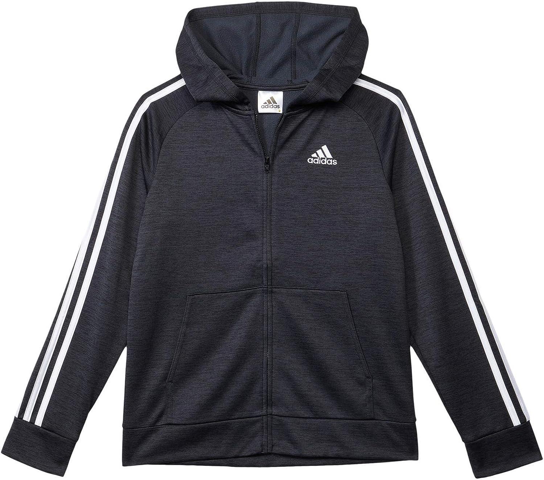 adidas boys Zip Front Fleece Indicator Hooded Jacket: Clothing