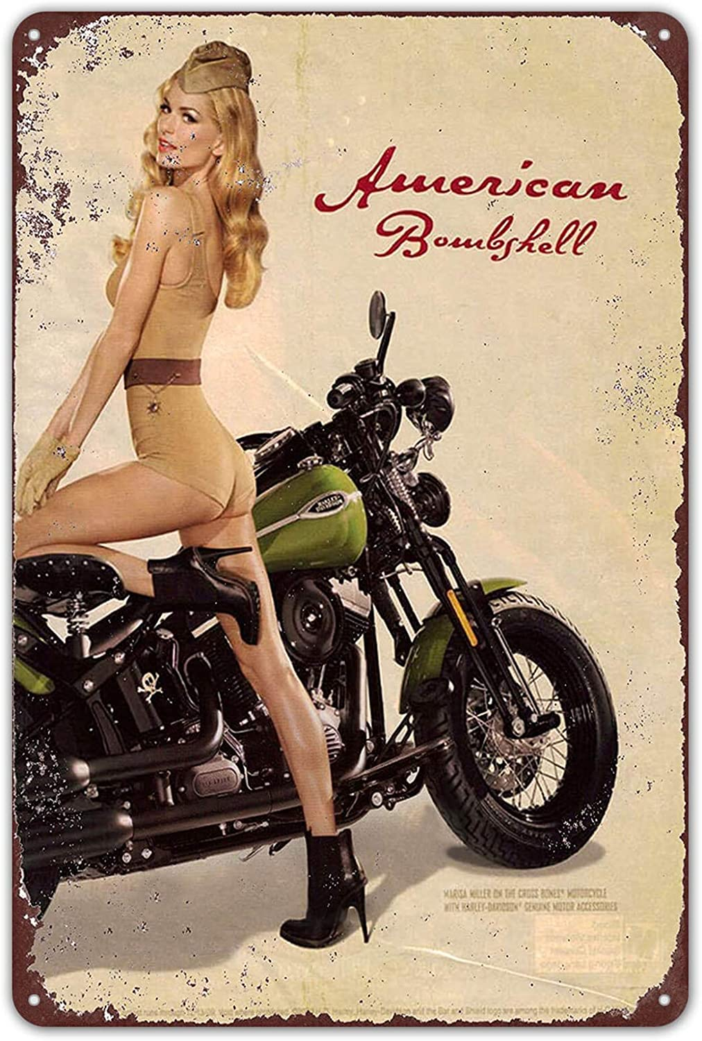 Agedsign Metal Signs Vintage Basement Decor Art U.S. WWII Vintage 1943 Motorcycle Pinup Girl Tin Sign Retro Pub Wall 8 x 12 inches