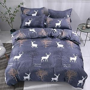Feelyou Deer Print Duvet Cover Set Full Size Decorative Animals Trees Bedding Set for Boys Girls Microfiber Polyester Comforter Cover with 2 Pillow Shams, Soft Lightweight 3 Pieces, Zipper, Dark Blue