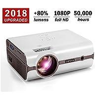 Beamer, 2018 Upgraded Crenova XPE496 Video Beamer +80% Lumens Mini Heimkino Beamer 1080P HD Tragbare Heimkino-Projektor HDMI VGA AV TV USB SD-Karte für Video TV