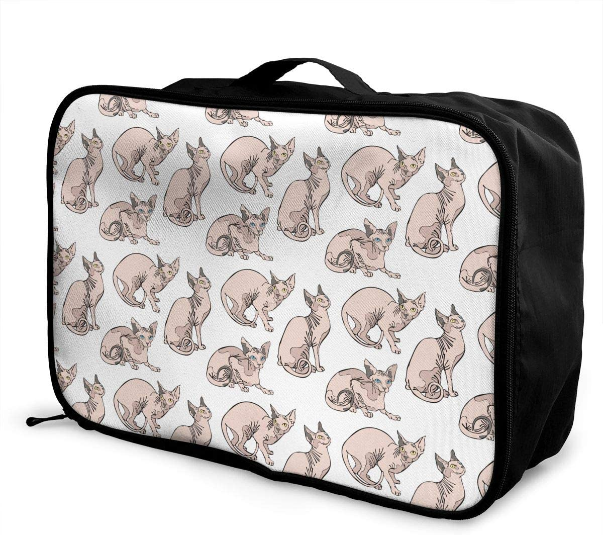 Naked Cats Sphynx Cats Pattern Travel Carry-on Luggage Weekender Bag Overnight Tote Flight Duffel In Trolley Handle