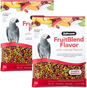 ZuPreem FruitBlend Flavor Pellets Bird Food for Parrots and Conures, 3.5 lb Bag (2-Pack) - Powerful Pellets Made in USA, Naturally Flavored for Caiques, African Greys, Senegals, Amazons, Eclectus