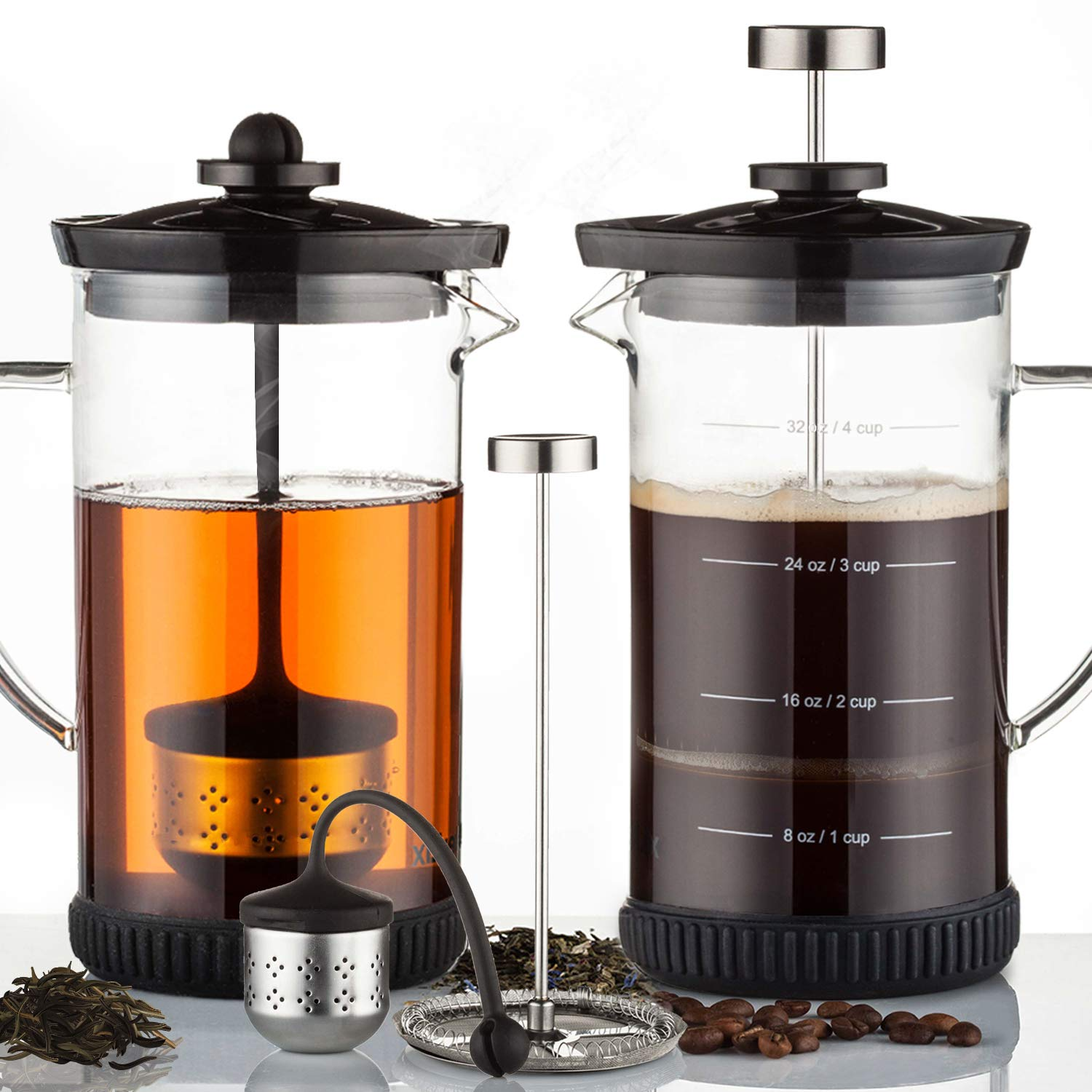POWERLIX French Press Coffee Maker - Best Coffee Press for Coffee & Loose Tea, Includes Heat Resistant Borosilicate Glass, Stainless Steel Carafe- Fabulous 2 In 1 Coffee & Tea Maker, Dishwasher Safe by POWERLIX