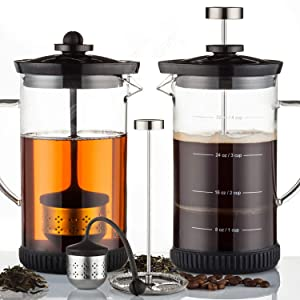 POWERLIX French Press Coffee Maker – Best Coffee Press for Coffee & Loose Tea, Includes Heat Resistant Borosilicate Glass, Stainless Steel Carafe– Fabulous 2 In 1 Coffee & Tea Maker, Dishwasher Safe