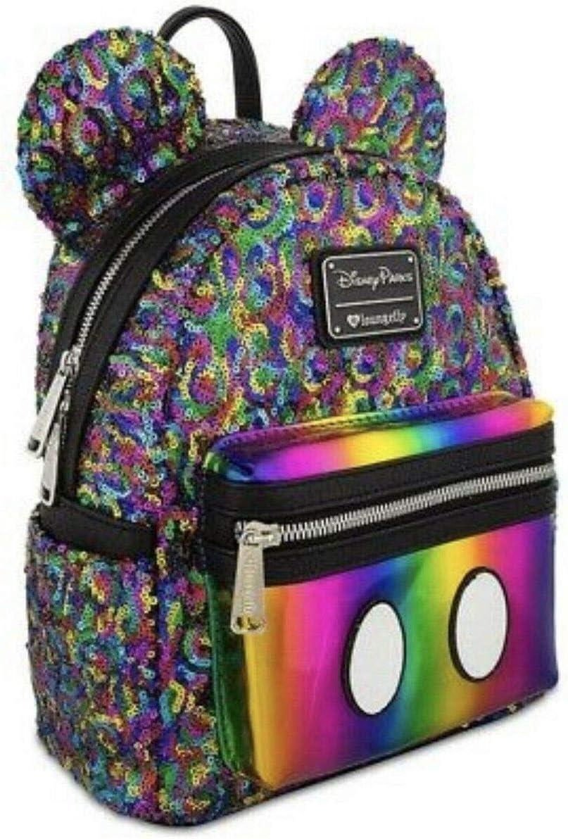 Disney Mini Backpack - Rainbow Mickey Sequin By Loungefly