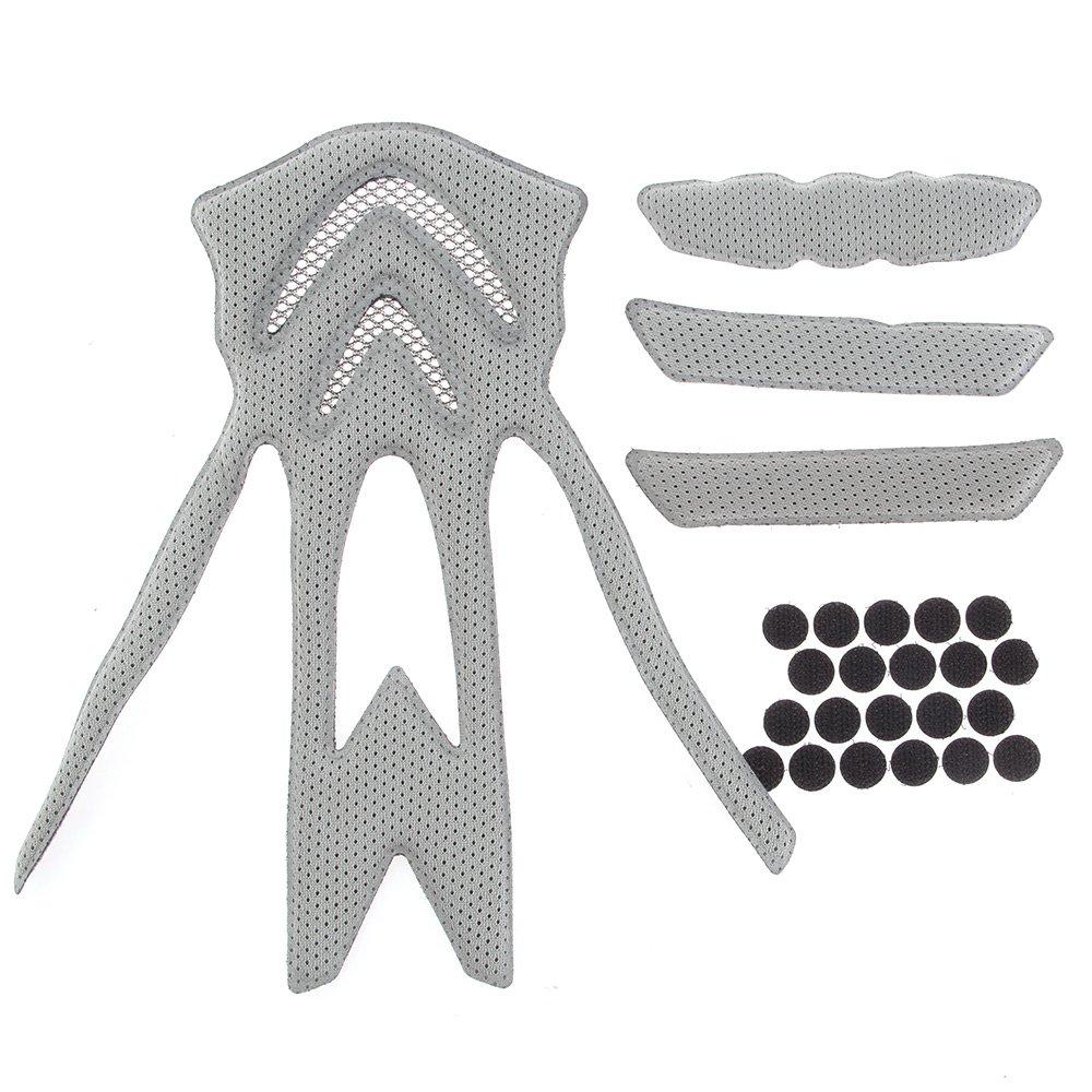 fitTek® Helm Innenfutter Set für Fahrradhelm Radhelm Ersetzbar mit Klettverschluss Grau