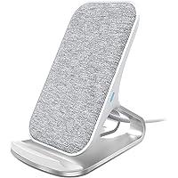 Lecone Cargador inalámbrico rápido, 10W Soporte de Carga inalámbrico Premium Fabric Certificado Qi, Compatible con Samsung Galaxy S10/S10+/S9/S9+/S8+/Note 9, iPhone XR/XS MAX/XS/X y más, Gris