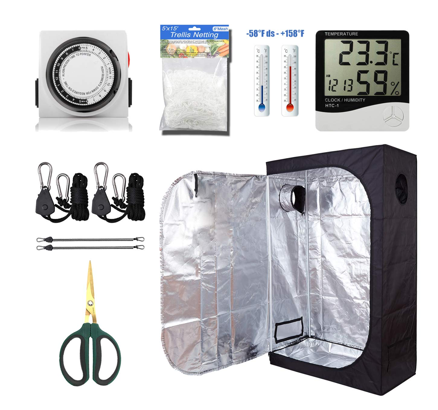 GreenHouser 36''x20''x63'' Grow Tent+Kits-High Reflection Room Grow Kits for Indoor Planting +24 Hours Timer+Hangers+Temperature Humidity+Bonsai Shears+Netting Trellis